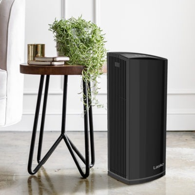 Lasko HEPA Filter Premium Air Purifier Tower Model LP450 in living room