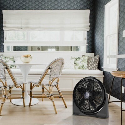 Lasko Cyclone Air Circulator Fan, model A20515 in sunny breakfast nook