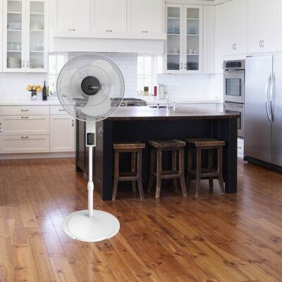 Lasko Pedestal Fan with Remote Oscillation and Thermostat, model S16614 in white kitchen