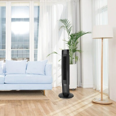 bright living room with Lasko Wind Tower® Fan with Nighttime Mode and Remote Control, model T36510